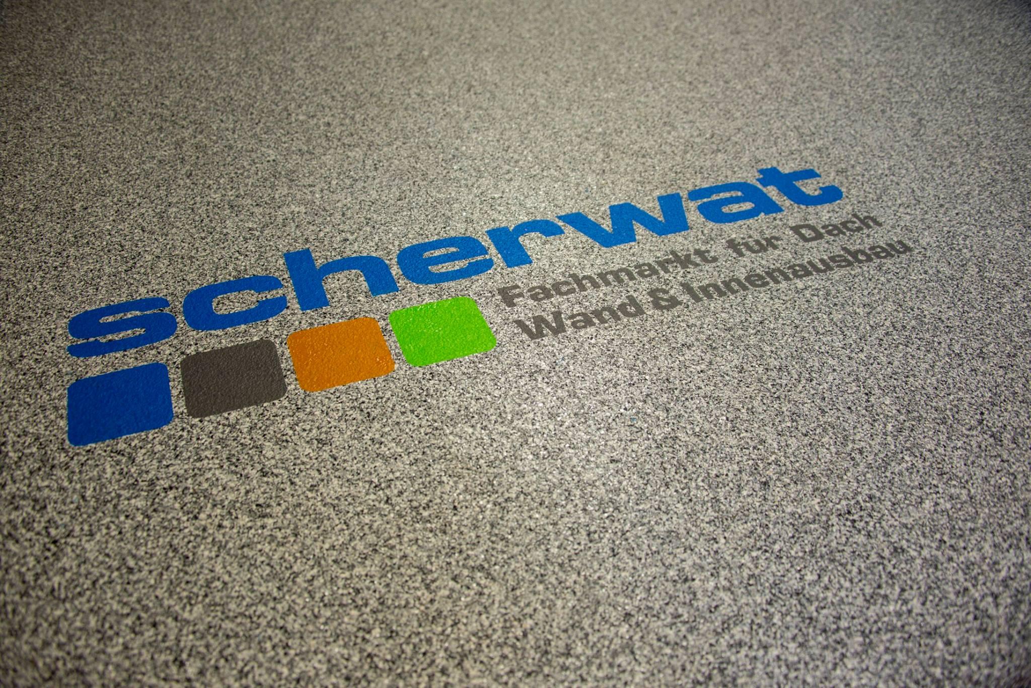 Enke Fußbodenbeschichtung und Firmenlogo Scherwat